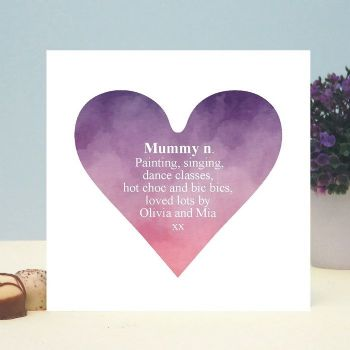 Dictionary Definition Heart Personalised Card - Ideal for Mother's Day or Father's Day